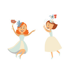 brides throwing bouquet dancing set vector image