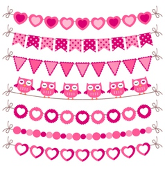 Bunting and garland pink set vector image