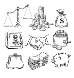Business finance money set scales stack coins vector