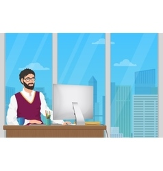 Business man entrepreneur working at his office vector