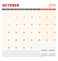 calendar planner template for october 2019 week vector image