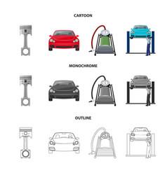 car on lift piston and pump cartoonoutline vector image