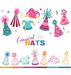 carnival hats set vector image
