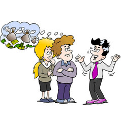 Cartoon of a family there think the money is fly vector