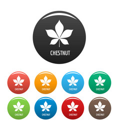 chestnut leaf icons set color vector image