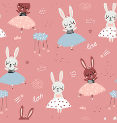 childish seamless pattern with cute bunnies vector image