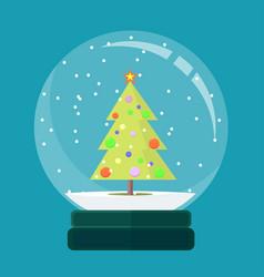 christmas card snow globe with a christmas tree vector image