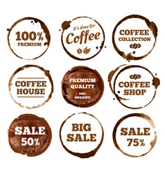 Coffee labels watercolor dirty espresso cup ring vector