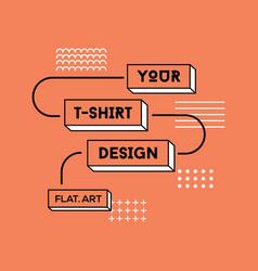 color flat t-shirt print design vector image