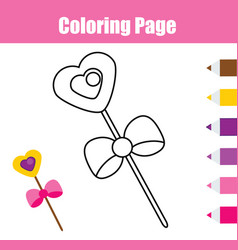 Coloring page with magic stick educational game vector