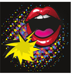 comic lips shout speech bubble pop art on dot vector image
