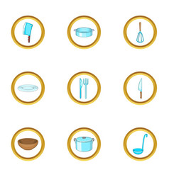 cookware icons set cartoon style vector image