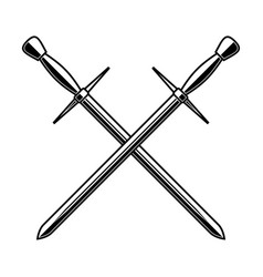 Crossed medieval swords on white background vector