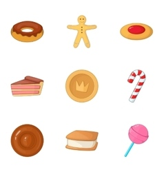 Desserts icons set cartoon style vector image
