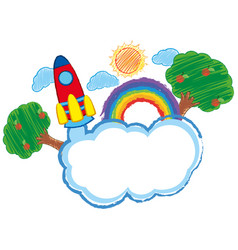 Doodle arts for rocket and clouds vector