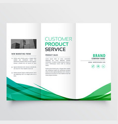 Elegant green wave trifold brochure design for vector