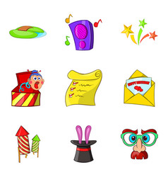 Entertaining show icons set cartoon style vector