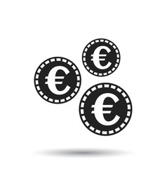 Euro coins icon in flat style black coin on vector