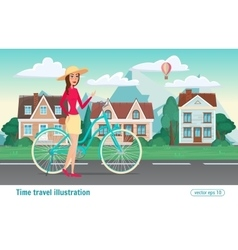 Fashion girl rides a bicycle streets the vector