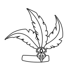 Feather headdress isolated in black and white vector