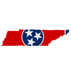 Flag in map tennessee vector