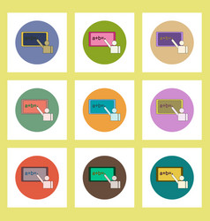 Flat icons set of back to school concept vector