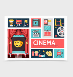 Flat movie infographic concept vector