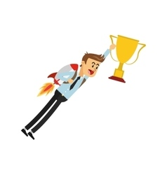 Flying businessman with jetpack holding trophy cup vector