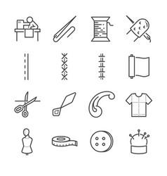 garment line icon set vector image