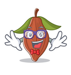 geek cacao bean character cartoon vector image