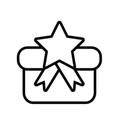 Gift box star ribbon present outline vector