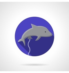 Gray dolphin balloon flat round icon vector