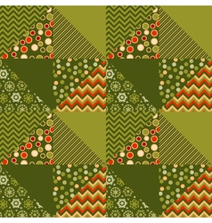 green traditional ornament patchwork pattern vector image
