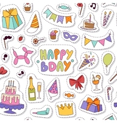 Happy birthday seamless pattern vector