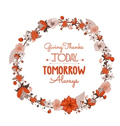 Happy Thanksgiving Day greeting card wreath and vector