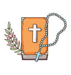 holy bible book with rosary vector image