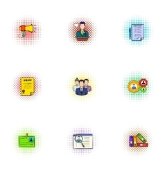 Investment icons set pop-art style vector