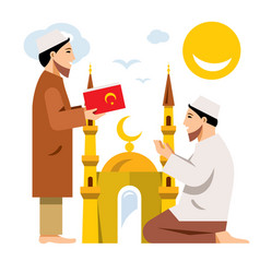Islam islamic prayers flat style colorful vector