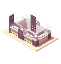 Isometric jewelry mall retail kiosk vector