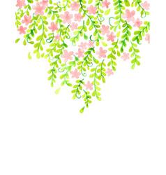 Ivy pink flower frame for wedding event vector