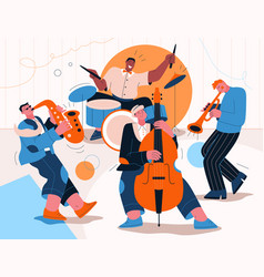 jazz band playing music at festival concert or vector image