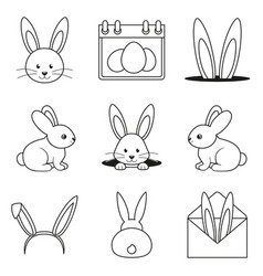 Line art black and white easter bunny set vector