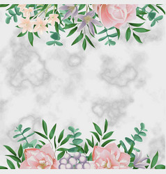Luxury template with pink flowers on white marble vector