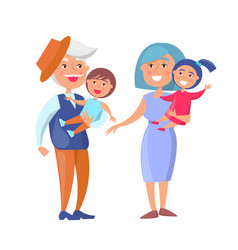 Mature couple holding children grandpa and grandma vector