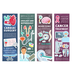 Medical clinic banners with doctors and instrument vector
