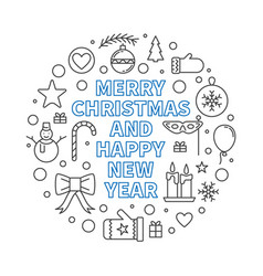 Merry christmas and happy new year round outline vector