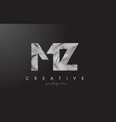 Mz m z letter logo with zebra lines texture vector