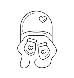newborn hat and mittens line icon vector image