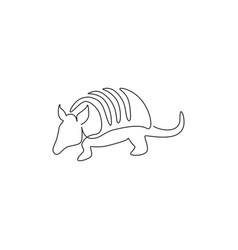 One single line drawing exotic armadillo vector