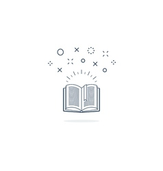 Opened book icon and logo vector
